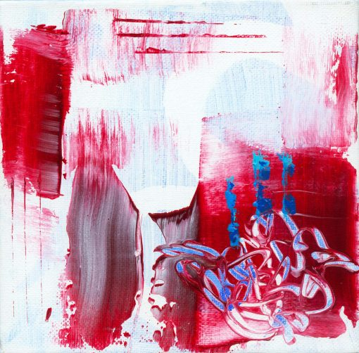 Abstract painting with various shapes in red and turquoise colors with asemic style writing shaping a nest
