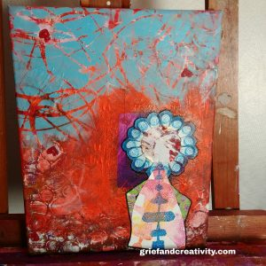 Acrylic painting with abstract background and a BEing in the foreground looking out a window