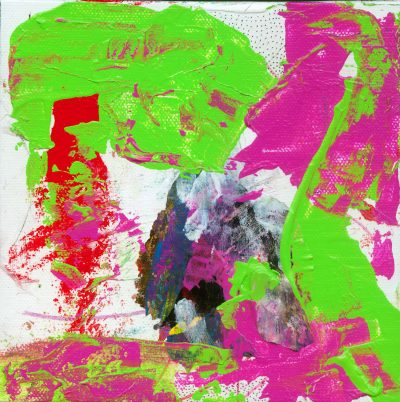 Abstract art using greens, reds, pinks, white, black