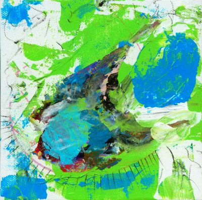 Abstract art using greens, blues, white, black, red