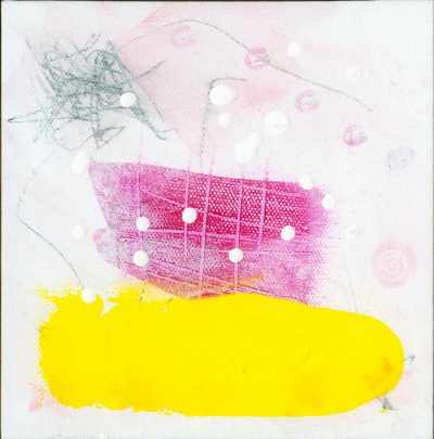 "Mixed media abstract painting from the series ""Nests"" using white, black, pink, yellow"