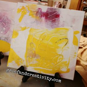 """Mixed media abstract painting from the series """"Nests"""" using white, black, pink, yellow"""
