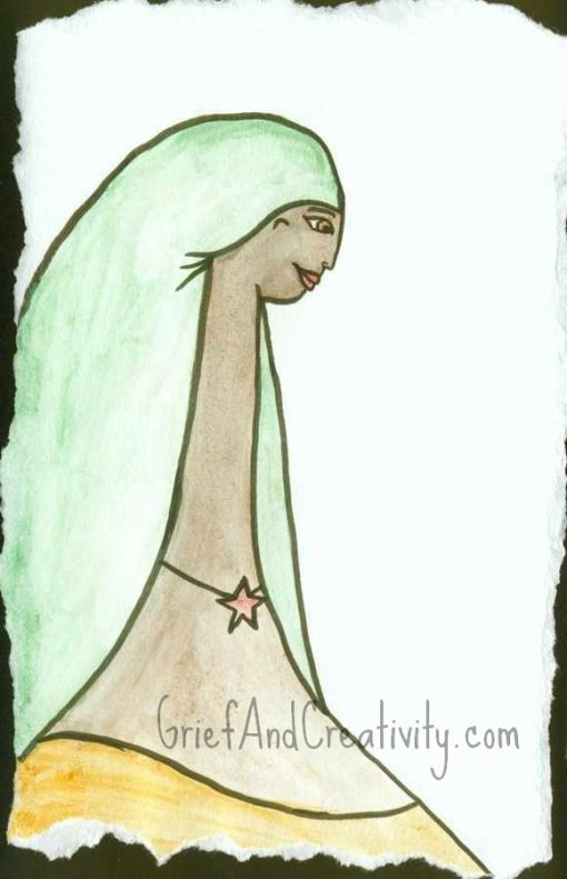 Mixed media on hand torn paper of a woman with a green head scarf, star necklace, and yellow golden shirt